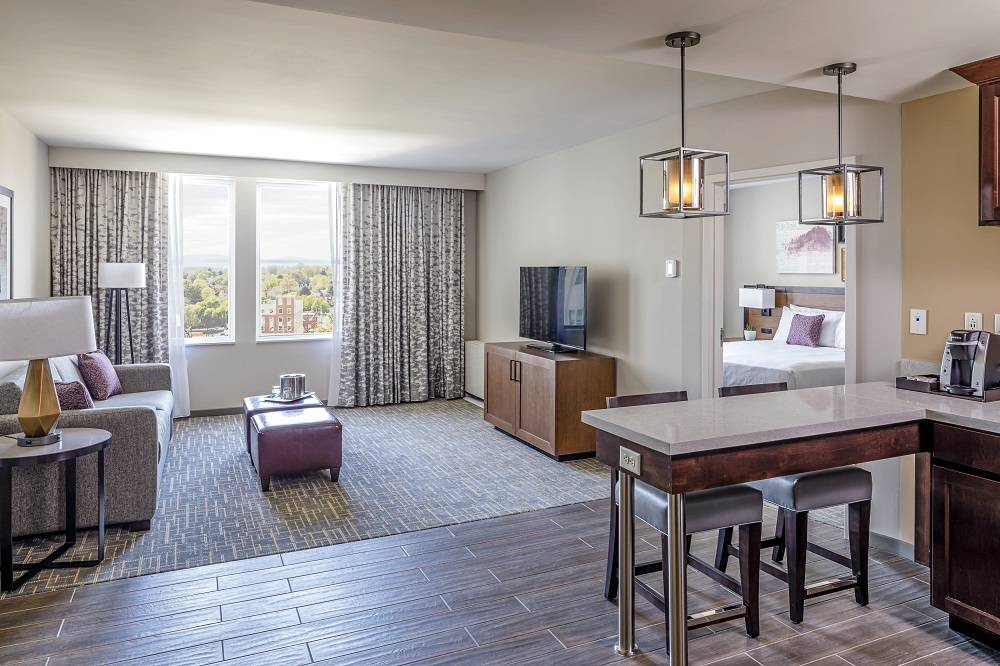 Living room in an extended stay hotel
